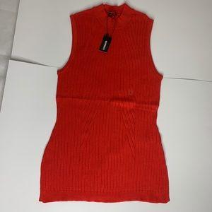 Express Ribbed Sleeveless Mock Neck Sweater